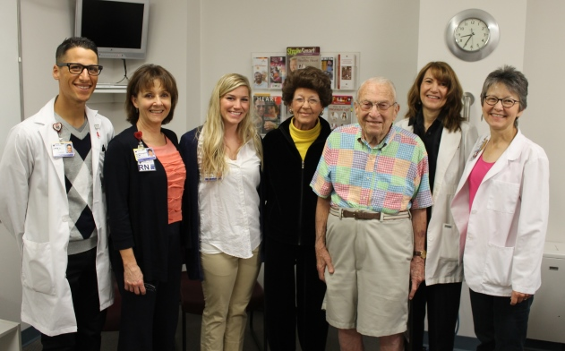 Harold (front right) with his wife Roslyn and cardiac rehabilitation staff.